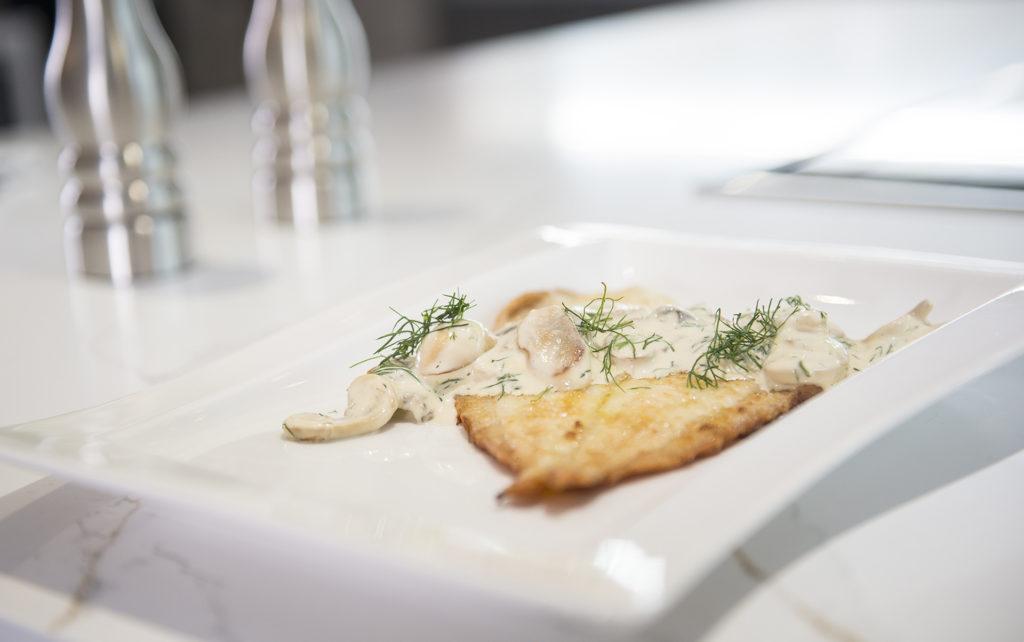 Pan Fried Plaice with a Creamy Mushroom Sauce and Roasted Tenderstem Broccoli