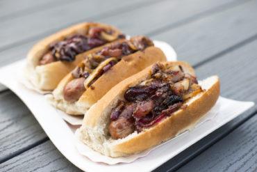 hotdogs with sticky onions recipe