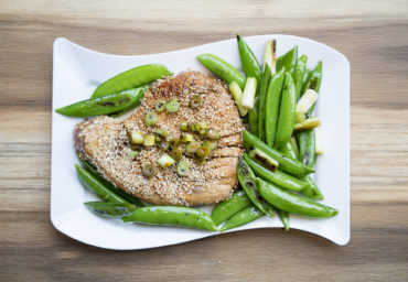 sesame crusted tuna served with peas and onions recipe home cooking with julie neville31