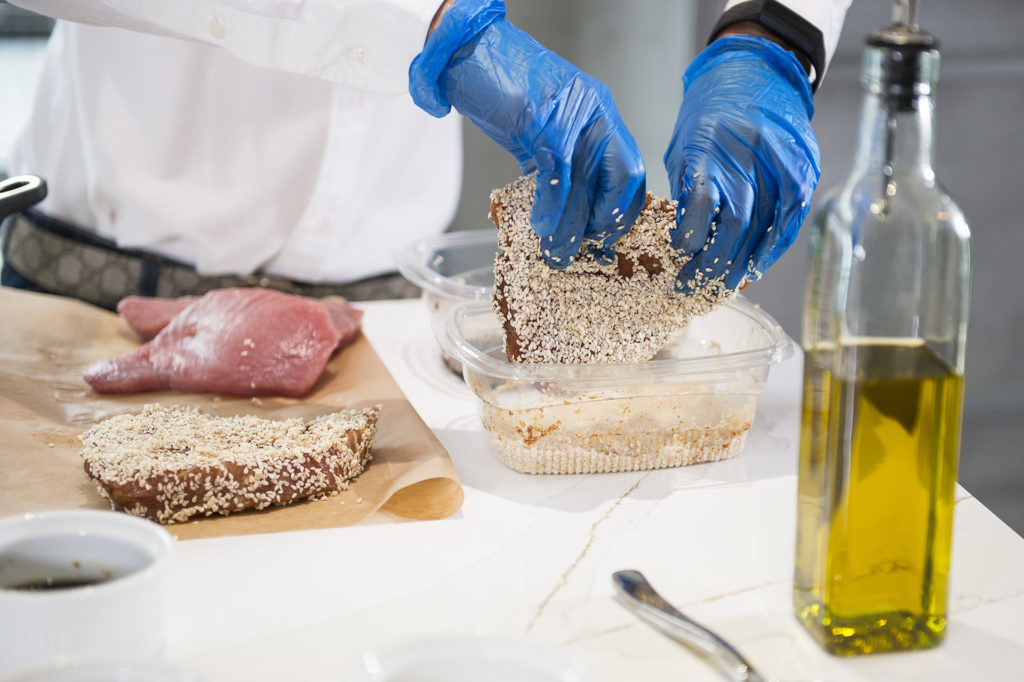 sesame crusted tuna served with peas and onions recipe home cooking with julie neville1